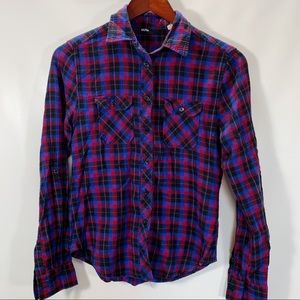 BDG Blouse Plaid Button Front Shirt Cotton Stretch